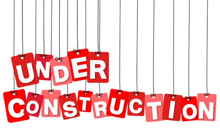 construction projects: Vector colorful hanging cardboard. Tags - under construction on white background