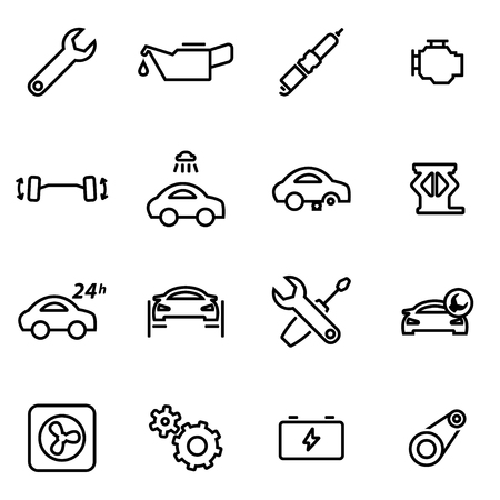 auto filter: Vector illustration of thin line icons - car service on white background