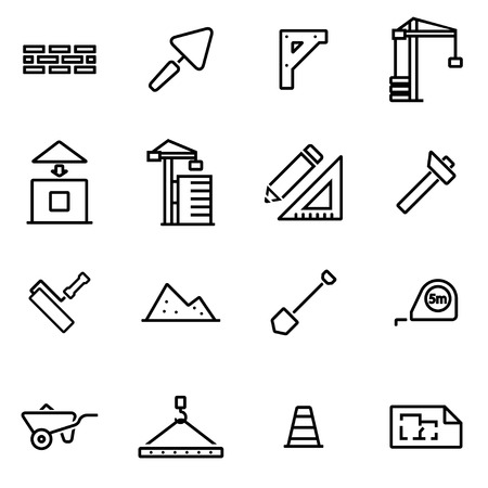 engineering tool: Vector illustration of thin line icons - construction on white background