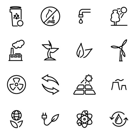 recycling symbols: Vector illustration of thin line icons - eco on white background Illustration