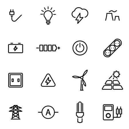 electricidad industrial: Ilustración vectorial de iconos de líneas finas - la electricidad en el fondo blanco