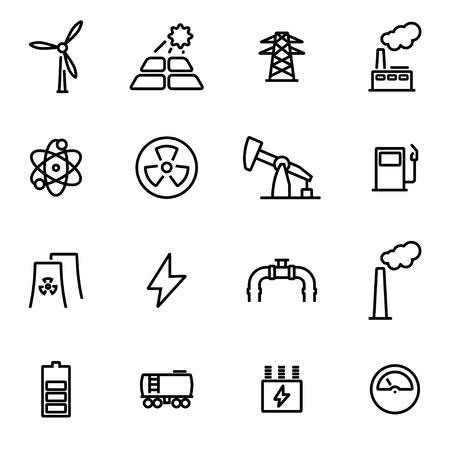 energetics: Vector illustration of thin line icons - energetics on white background Illustration