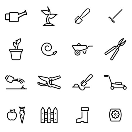 garden fountain: Vector illustration of thin line icons - gardening on white background