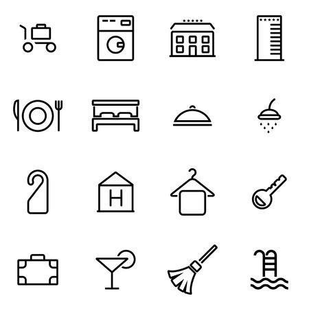 hotel rooms: Vector illustration of thin line icons - hotel on white background Illustration