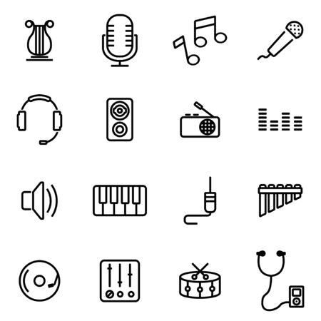 iconos de música: Vector illustration of thin line icons - music on white background