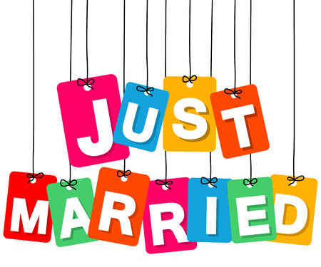 just: Vector colorful hanging cardboard. Tags - just married on white background