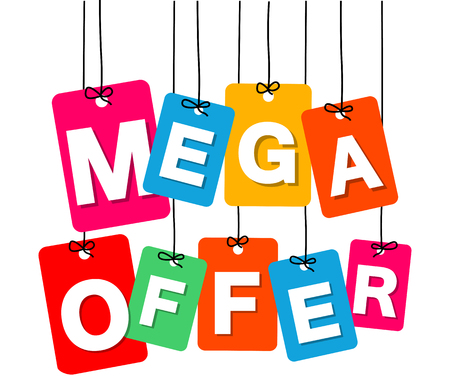 Vector colorful hanging cardboard. Tags - mega offer on white background