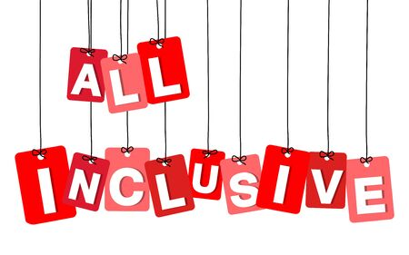 inclusive: Vector colorful hanging cardboard. Tags - all inclusive on white background