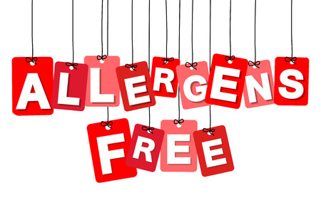 allergens: Vector colorful hanging cardboard. Tags - allergens free on white background