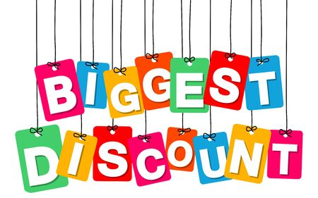 biggest: Vector colorful hanging cardboard. Tags - biggest discount on white background