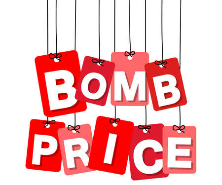 bomb price: Vector colorful hanging cardboard. Tags - bomb price on white background