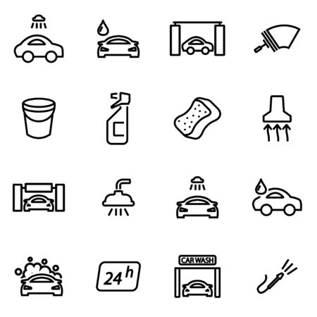 Vector Linie Autowasch Symbol auf weißem Hintergrund