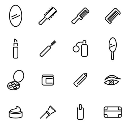 health beauty: Vector line cosmetics icon set on white background