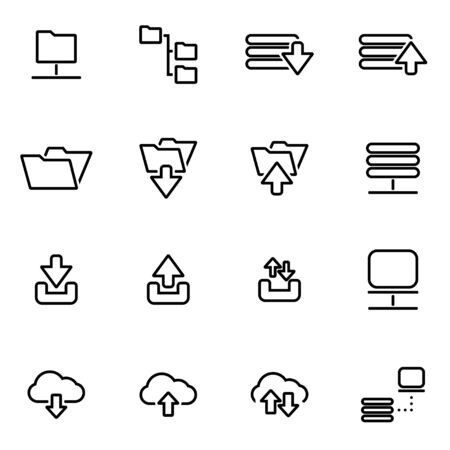 ftp: Vector line ftp icon set on white background