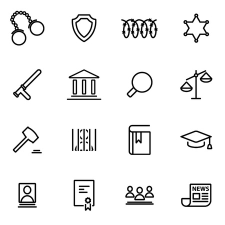 jury: Vector line justice icon set on white background