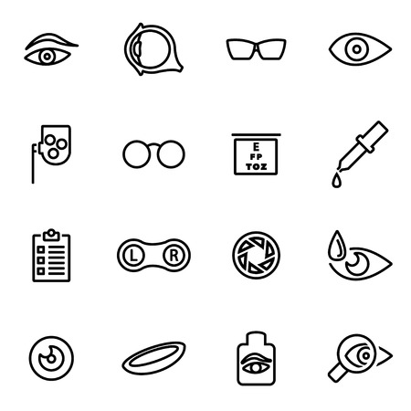 optometry: Vector line optometry icon set on white background