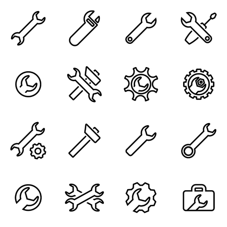 background settings: Vector line settings wrench icon set on white background Illustration