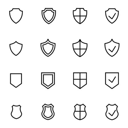 security icon: Vector line shield icon set on white background