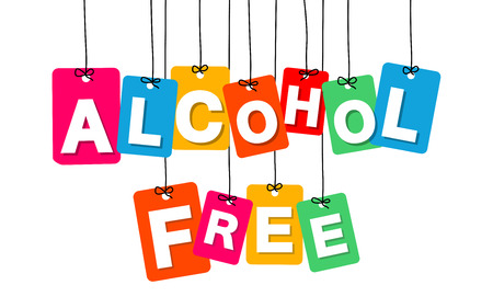 Vector colorful hanging cardboard. Tags - alcohol free on white background