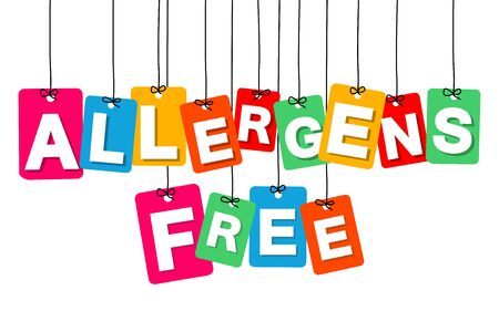alergenos: Vector colgante colorido de cart�n. Etiquetas - alergenos libres sobre fondo blanco