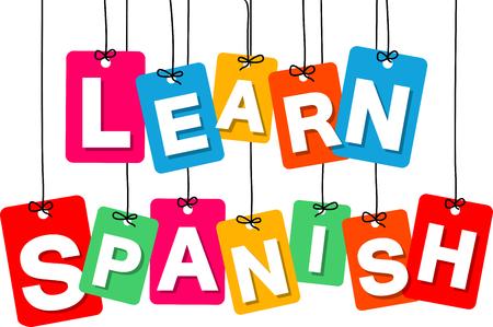 Vector colgante colorido de cartón. Etiquetas - aprender español en el fondo blanco