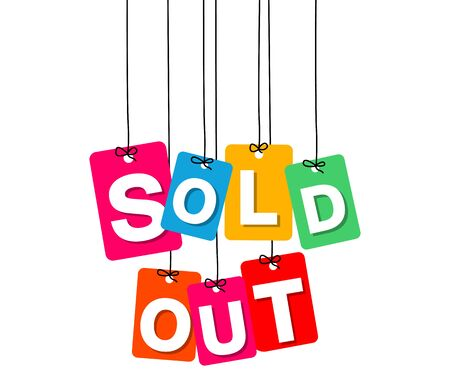 Vector colorful hanging cardboard. Tags - sold out on white background