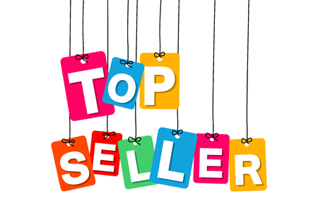 top seller: Vector colorful hanging cardboard. Tags - top seller on white background