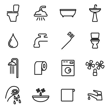 bathroom icon: Vector line bathroom icon set on white background
