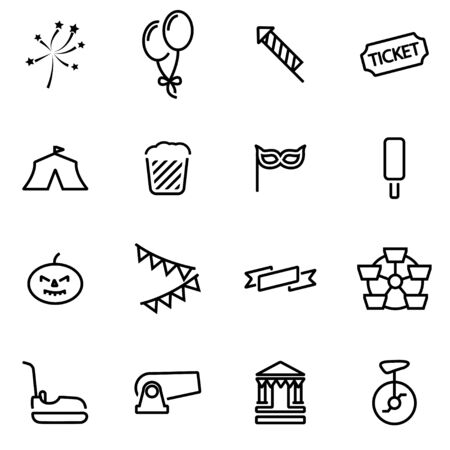 thin: Vector line carnival icon set on white background Illustration