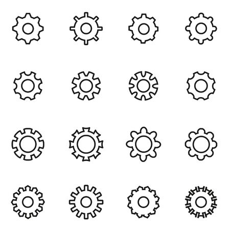 Vector line gear icon set on white background