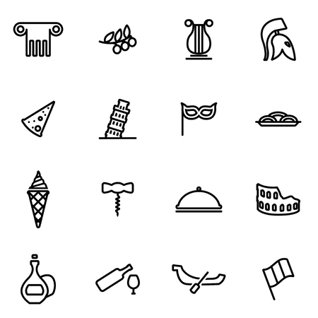 italy culture: Vector line italian icon set on white background Illustration
