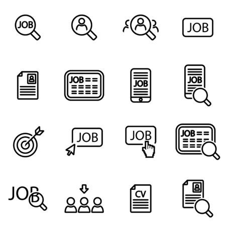 Vector line job search icon set on white background Vettoriali