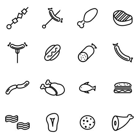 pig roast: Vector line meat icon set on white background Illustration