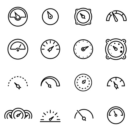 dial: Vector line meter icon set on white background Illustration