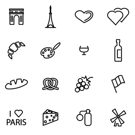 french culture: Vector line paris icon set on white background Illustration