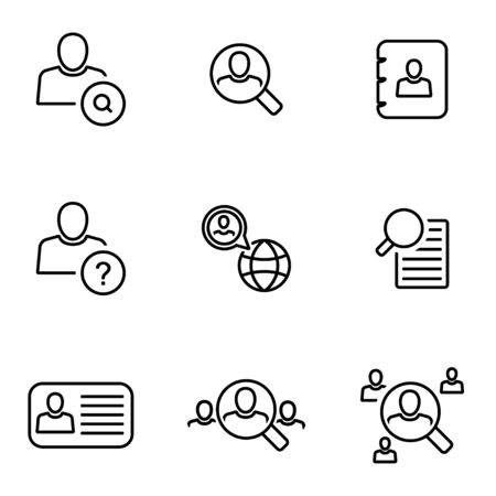 Vector line people search icon set on white background Illustration
