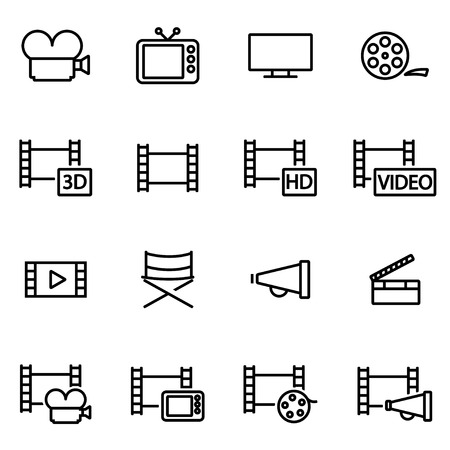 film: Vector line movie icon set on white background Illustration