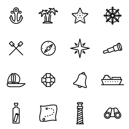 thin shell: Vector line nautical icon set on white background