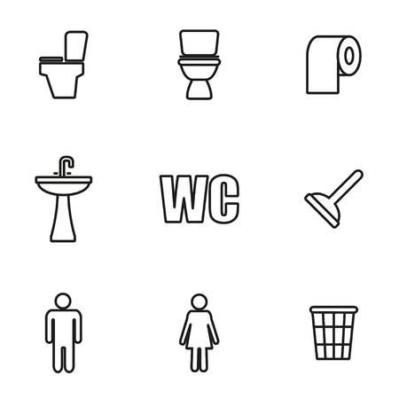 man and women wc sign: Vector line toilet icon set on white background