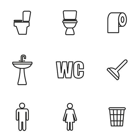 wc: Vector Linie WC-Symbol auf weißem Hintergrund Illustration