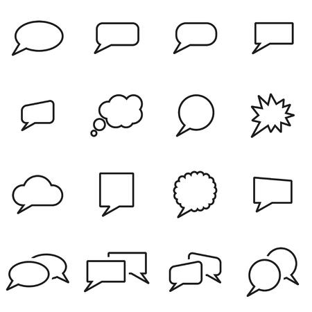 speach: Vector line speach bubbles icon set on white background