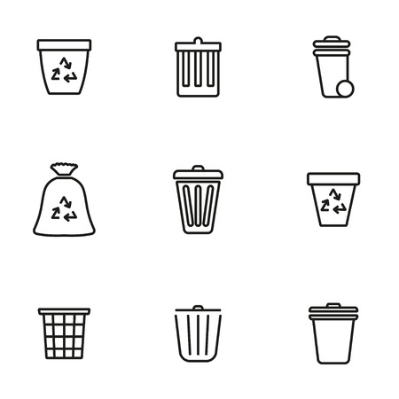 recycling symbols: Vector line trash can icon set on white background Illustration