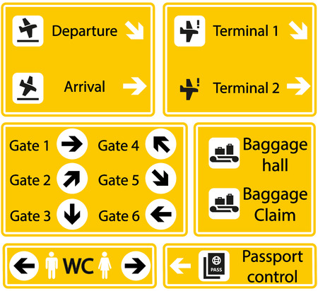 Selection of Airport signs on yellow background Stock Illustratie