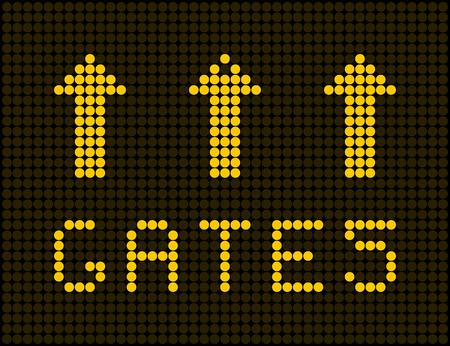 portones: Tarjeta de contador analógico aeropuerto. plantilla de calendario eléctrica Vectores