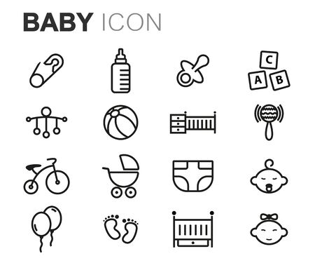 healthy kid: Vector black line baby icons set on white background