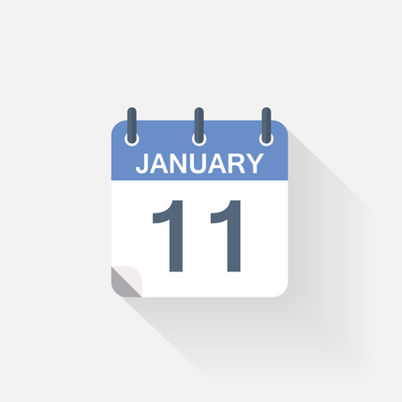 11: 11 january calendar icon on grey background