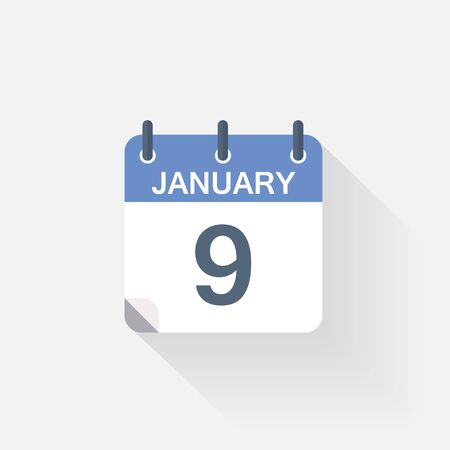 event calendar: 9 january calendar icon on grey background Illustration