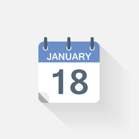 18: 18 january calendar icon on grey background