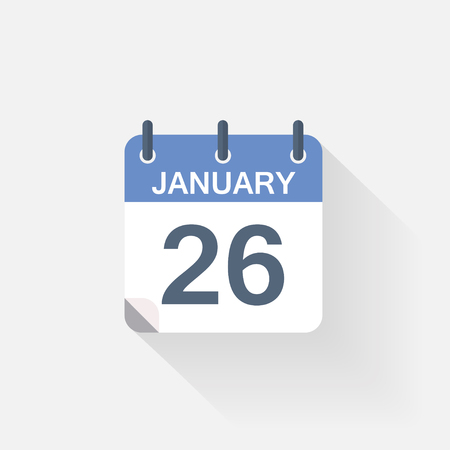 26 january: 26 january calendar icon on grey background
