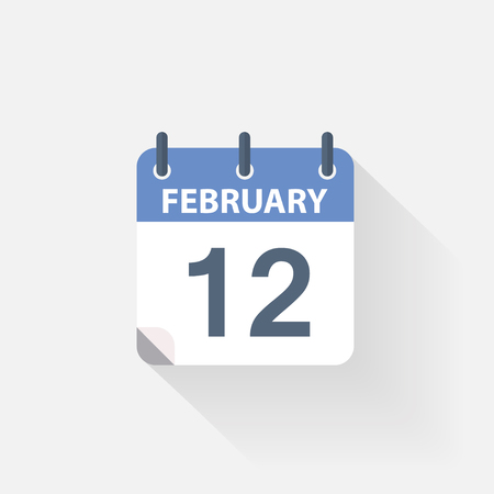 a 12: 12 february calendar icon on grey background Illustration